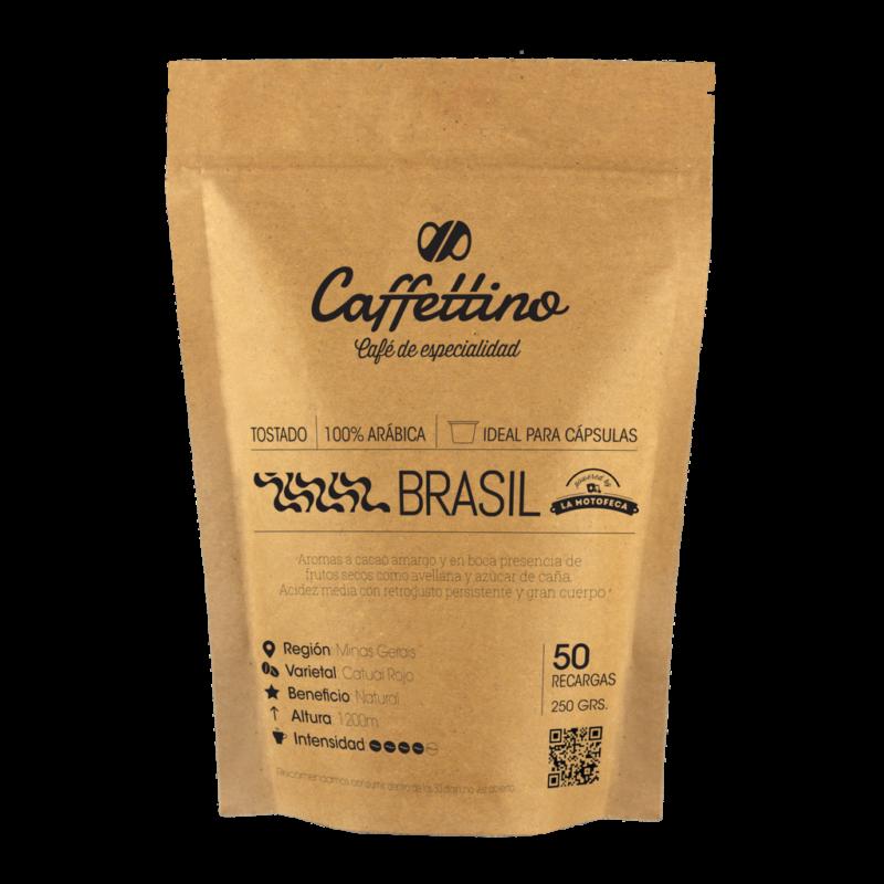 Café tostado molido Brasil - Molienda justa - Cápsulas Nespresso Caffettino